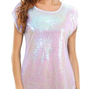 3/$25 Lecceca Pearl White Sequin Front Top Size XL